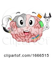 Brain Mascot Robotics Illustration