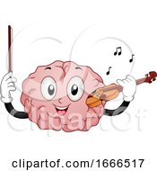Brain Mascot Play Violin Illustration