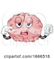 Poster, Art Print Of Brain Mascot Drink Medicine Illustration