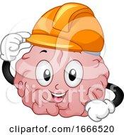 Brain Mascot Building Illustration