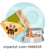Household Chores Feeding Pet Illustration