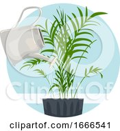 Household Chores Water Indoor Plant Illustration