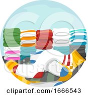 Household Chores Match Clean Socks Illustration