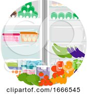 Household Chores Organize Fridge Illustration