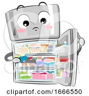 Mascot Refrigerator Full Cluttered Illustration