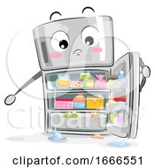 Mascot Refrigerator Messy Illustration