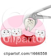 Teeth Mascot Tooth Decay Removal Illustration
