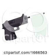 Gun Ribbon Banner Illustration