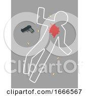 Chalk Line Gun Shot Illustration
