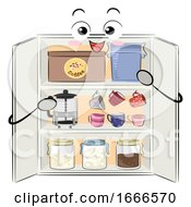 Mascot Coffee Cabinet Organization Illustration
