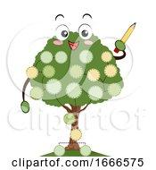 Mascot Family Tree Pencil Write Illustration