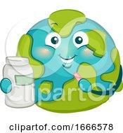 Mascot Big Earth Pills Illustration