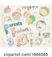Parent Teacher School Festival Sketch Illustration