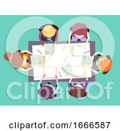 Poster, Art Print Of Parent Teacher Meeting Top View Illustration