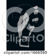 Hand Question Mark Stencil Illustration