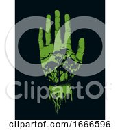 Hand Forest Save Help Stencil Illustration