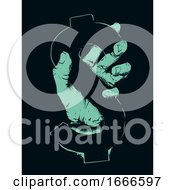 Hand Dollar Sign Stencil Illustration