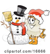 Clipart Picture Of A Slice Of White Bread Food Mascot Cartoon Character Wearing A Santa Hat And Standing With Frosty The Snowman On Christmas