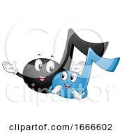 Music Notes Mascot Beginner Illustration