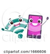Mascot Cellphone Wifi Signal Illustration