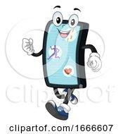 Mobile Mascot Fitness App Illustration