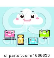 Mascot Cloud Hosting Gadgets Illustration