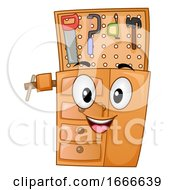 Poster, Art Print Of Woodworking Work Bench Mascot Illustration