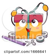 Mascot Gift Wrapping Illustration