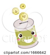 Donation Coin Bank Mascot Illustration