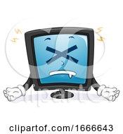 Computer Crashed Mascot Illustration