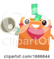 Donation Box Mascot Megaphone Cash Illustration