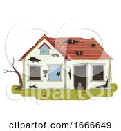 Poster, Art Print Of Abandoned House Illustration