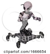 Bot Containing Grey Alien Style Head And Black Eyes And Bug Antennas And Light Chest Exoshielding And Chest Valve Crank And Insect Walker Legs Sketch Pad Doodle Lines Fight Or Defense Pose