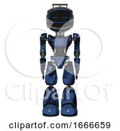 Mech Containing Digital Display Head And Sleeping Face And Led And Protection Bars And Light Chest Exoshielding And Ultralight Chest Exosuit And Light Leg Exoshielding Grunge Dark Blue Front View
