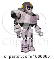 Droid Containing Grey Alien Style Head And Electric Eyes And Lightning Bolts And Gray Helmet And Heavy Upper Chest And Prototype Exoplate Legs Sketch Pad Facing Left View