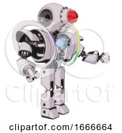 Robot Containing Round Head And Red Laser Crystal Array And Heavy Upper Chest And Heavy Mech Chest And Spectrum Fusion Core Chest And Prototype Exoplate Legs White Halftone Toon Interacting