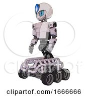 Cyborg Containing Grey Alien Style Head And Blue Grate Eyes And Blue Flame And Helmet And Light Chest Exoshielding And Prototype Exoplate Chest And Six Wheeler Base Sketch Pad Light