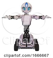 Cyborg Containing Grey Alien Style Head And Blue Grate Eyes And Blue Flame And Helmet And Light Chest Exoshielding And Prototype Exoplate Chest And Six Wheeler Base Sketch Pad Light T Pose