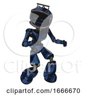 Mech Containing Digital Display Head And Sleeping Face And Led And Protection Bars And Light Chest Exoshielding And Ultralight Chest Exosuit And Light Leg Exoshielding Grunge Dark Blue