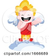 Cute Smiling Cupid Dressed In Red Standing On A Cloud And Waving