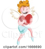 Poster, Art Print Of Cupid Holding A Big Red Heart