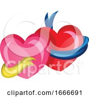 A Pink Heart With A Yellow Ribbon And A Red Heart With A Blue Ribbon