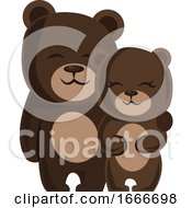 Poster, Art Print Of A Male And A Female Bear Hugging Each Other