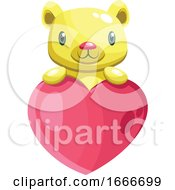 Poster, Art Print Of Cute Yellow Bear Holding A Big Pink Heart
