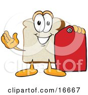 Slice Of White Bread Food Mascot Cartoon Character Holding Out A Red Clearance Sales Price Tag