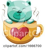 Poster, Art Print Of Turquoise Bear In A Yellow Cup With A Red Heart