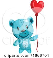 Poster, Art Print Of Blue Bear Holding A Heart Shaped Red Balloon