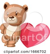 Poster, Art Print Of Brown And White Bear Leaning On A Big Pink Heart