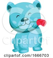 Poster, Art Print Of Turquoise Bear Holding A Red Rose In His Mouth