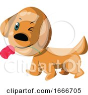 Poster, Art Print Of Light Brown Dog Holding A Pink Rose In His Mouth